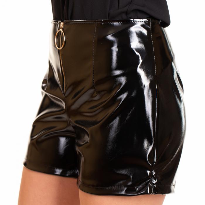 Pantalon scurt  fermoar din piele ecologica lacuita 0