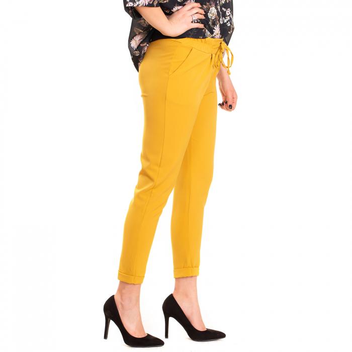 Pantalon usor conic , cu snur in talie si elastic [2]