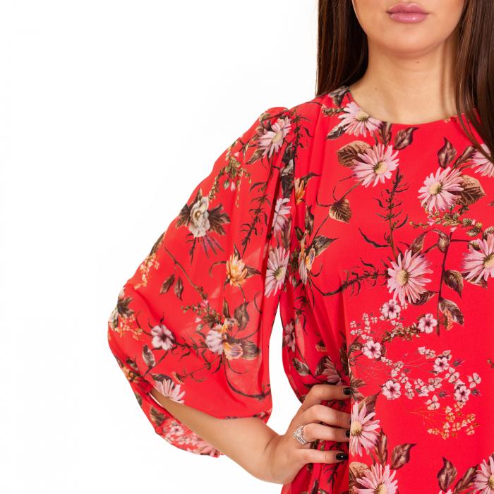 Rochie  din voal imprimeu floral , cu maneca bufanta cu elastic 2