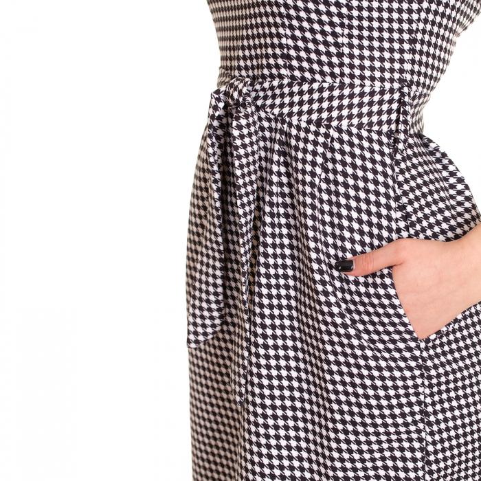 Rochie pepit cu cordon si buzunare [3]