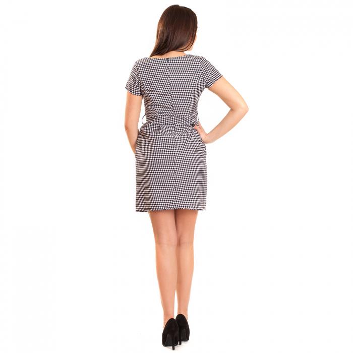 Rochie pepit cu cordon si buzunare [2]