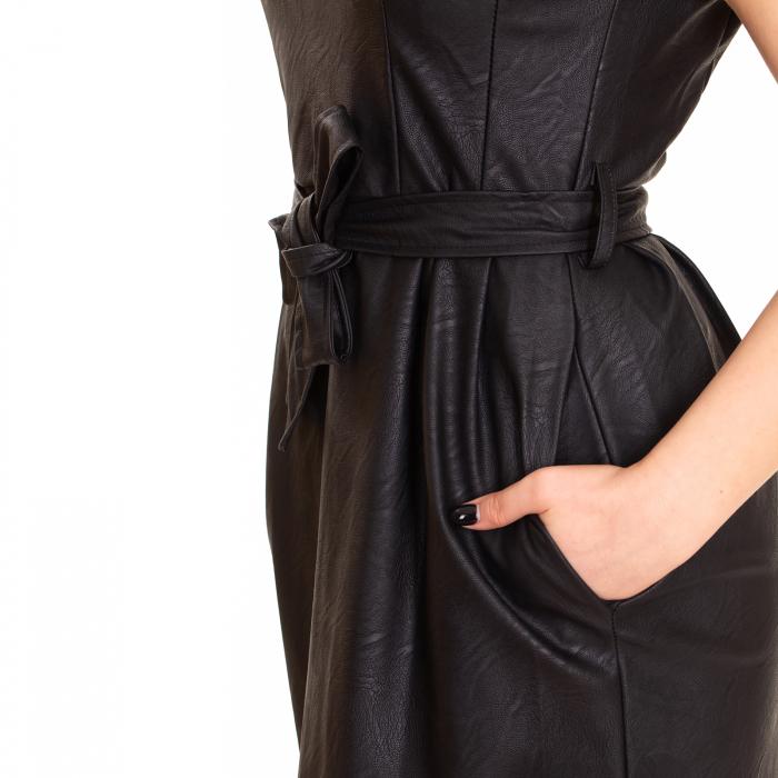 Rochie piele ecologica cu buzunare si cordon 3
