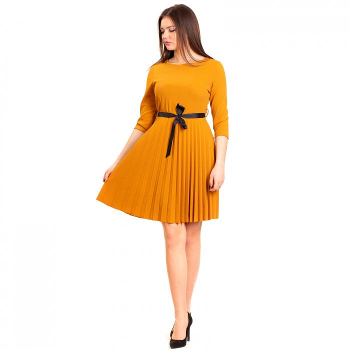 Rochie plisata cu cordon 0