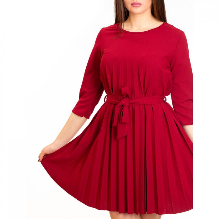 Rochie plisata cu cordon maneca pana la cot [3]