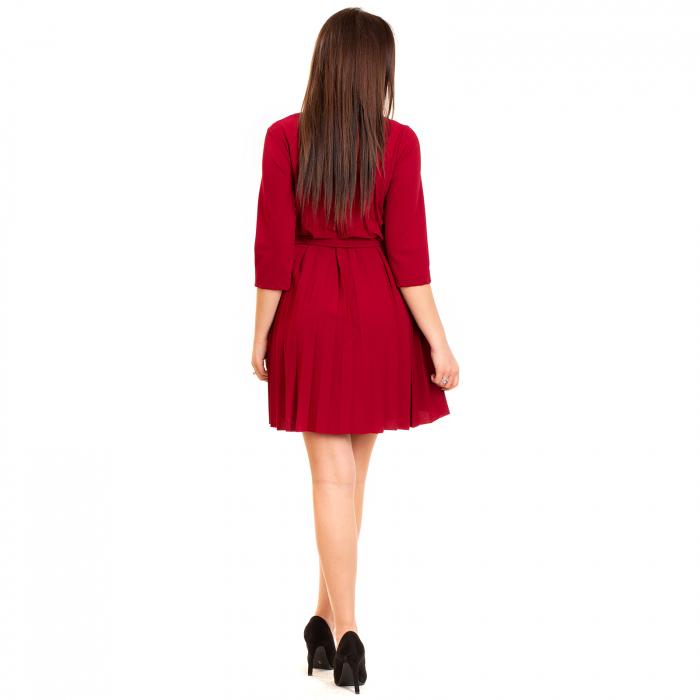 Rochie plisata cu cordon maneca pana la cot [2]