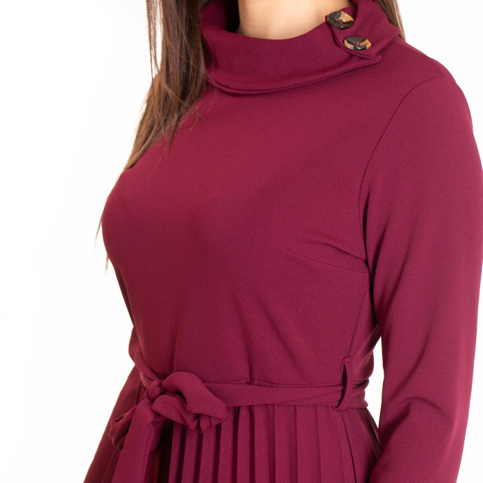 Rochie plisata cu  cordon si nasturi maro pe  guler 3