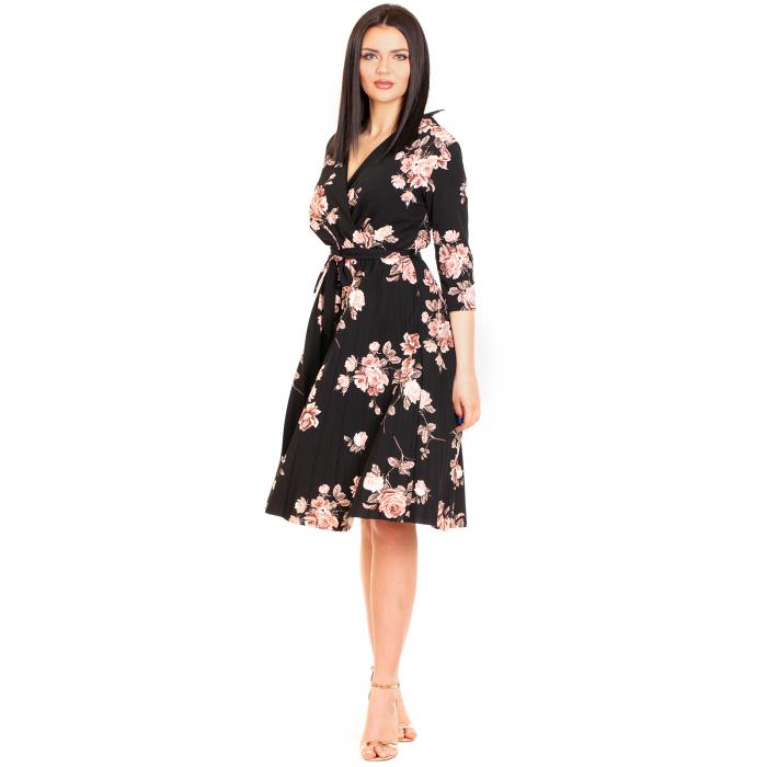 Rochie plisata cu imprimeu floral 0
