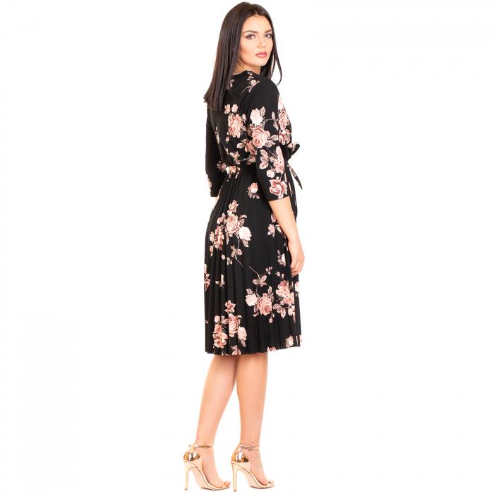 Rochie plisata cu imprimeu floral 1
