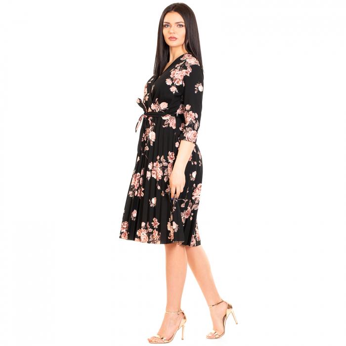 Rochie plisata cu imprimeu floral 3