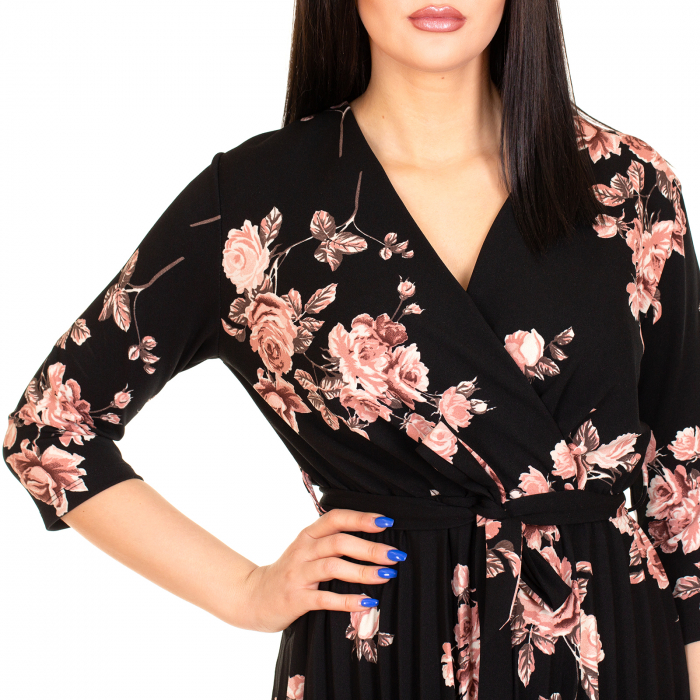 Rochie plisata cu imprimeu floral 2
