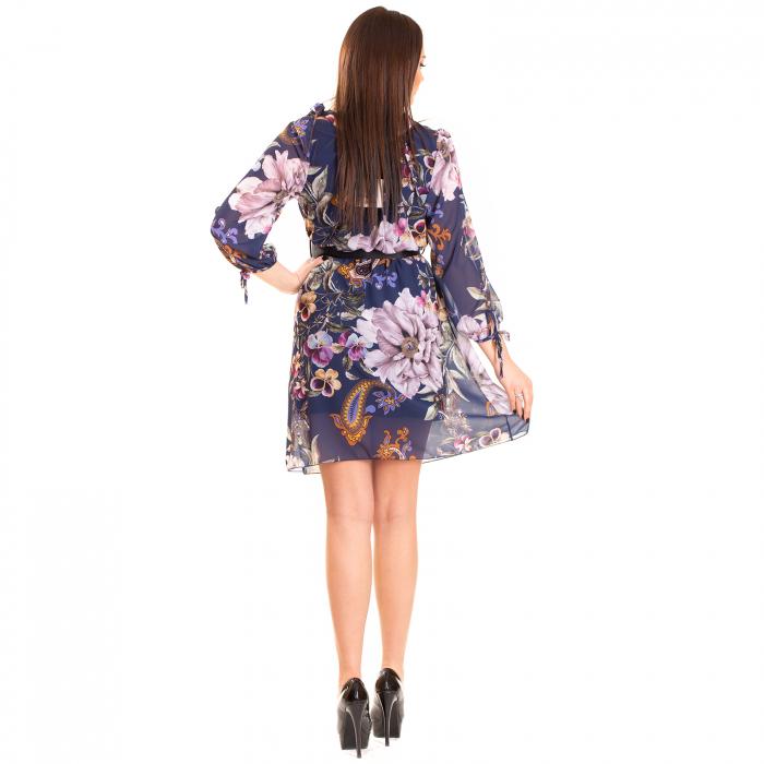 Rochie voal cu imprimeu floral , blue spirit 2