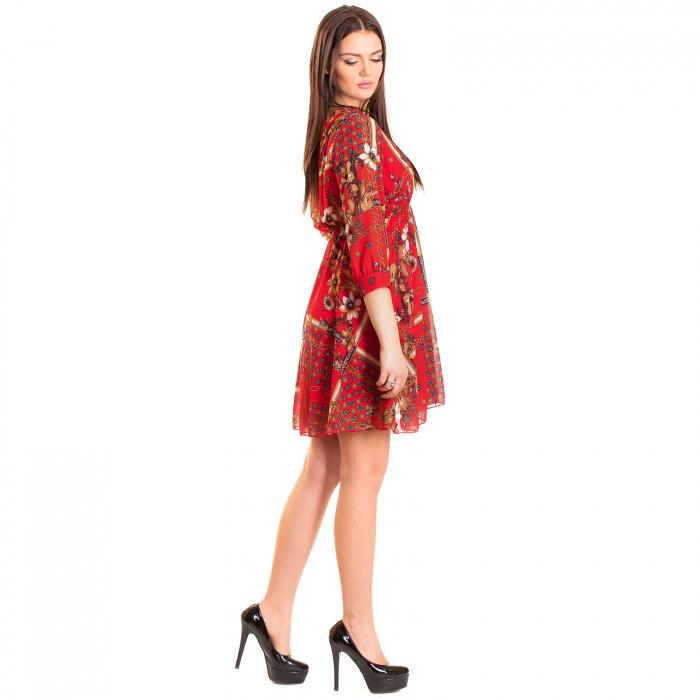 Rochie voal cu imprimeu  floral  , red  spirit 1