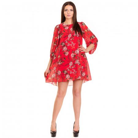 Rochie  din voal imprimeu floral , cu maneca bufanta cu elastic0