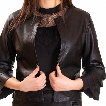 Jacheta piele ecologica cu volane la maneca0