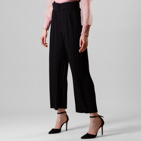 Pantalon plisat cu curea1