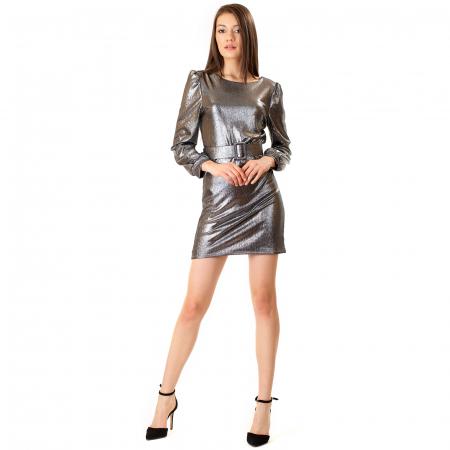 Rochie material lucios si curea [1]