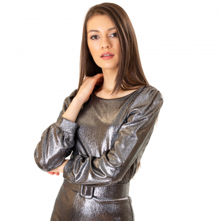 Rochie material lucios si curea5