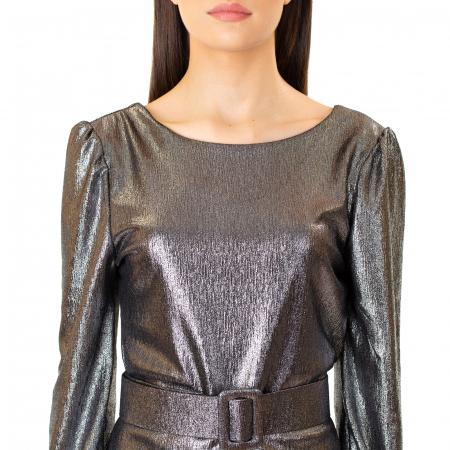 Rochie material lucios si curea [6]
