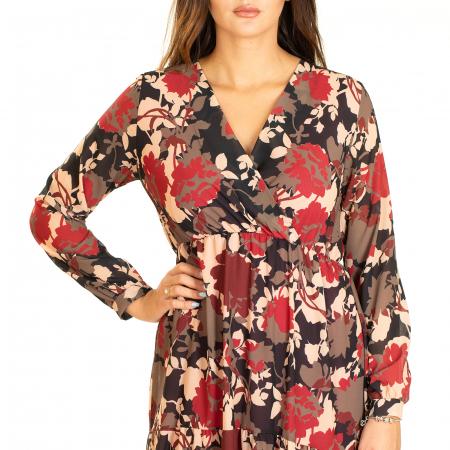 Rochie  din voal imprimeu floral2