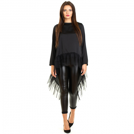 Bluza  din saten  negru cu voal1