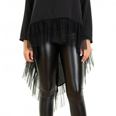 Bluza  din saten  negru cu voal3