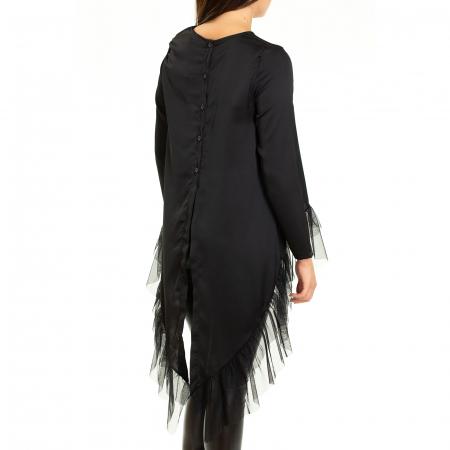 Bluza  din saten  negru cu voal5