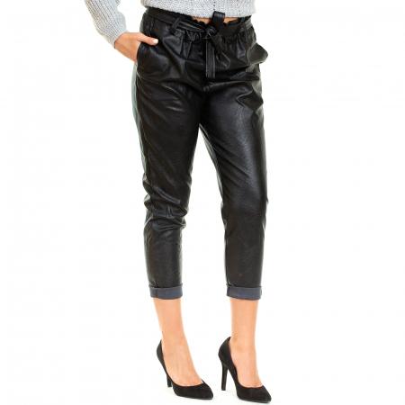 Pantalon piele ecologica , cu cordon0