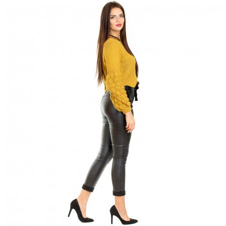 Pantalon din piele ecologica cu reflexie metalica0