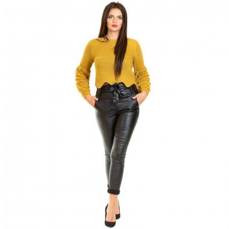 Pantalon din piele ecologica cu reflexie metalica1