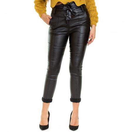 Pantalon din piele ecologica cu reflexie metalica2
