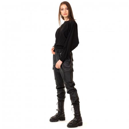 Pantalon piele ecologica cu lant5