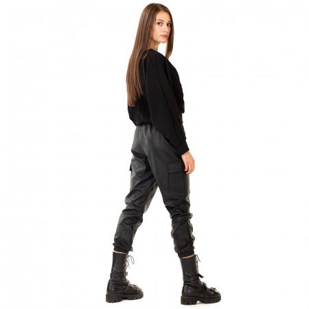 Pantalon piele ecologica cu lant4