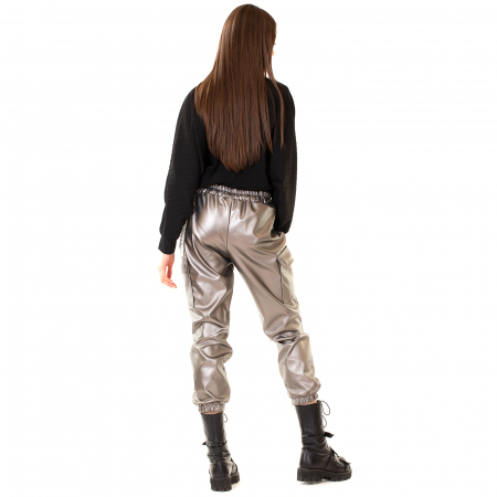 Pantalon piele ecologica cu lant [4]