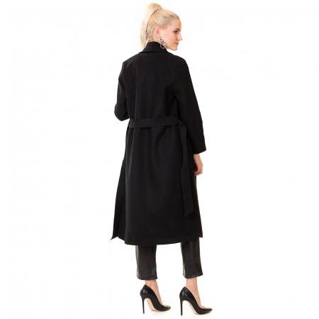 Palton lung cu cordon in talie1