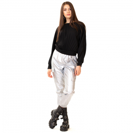 Pantalon piele ecologica cu lant0