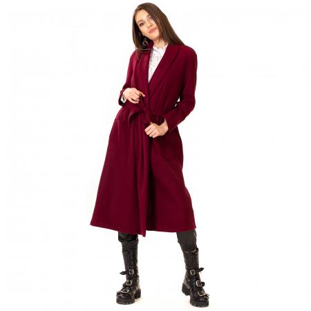 Palton lung cu cordon in talie4