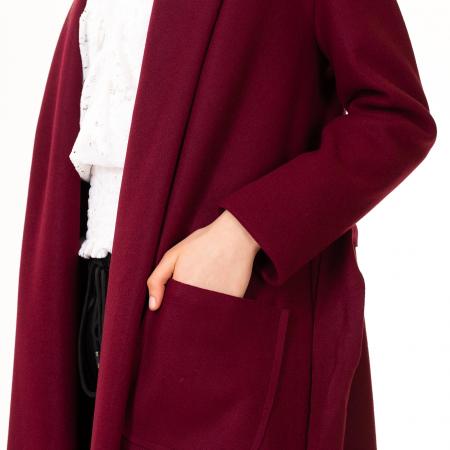 Palton lung cu cordon in talie5
