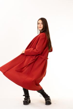 Palton lung cu cordon in talie2
