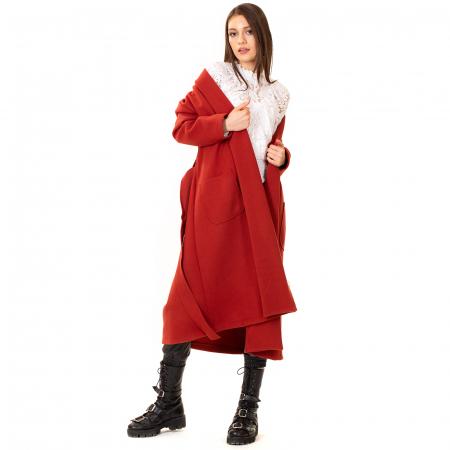 Palton lung cu cordon in talie3