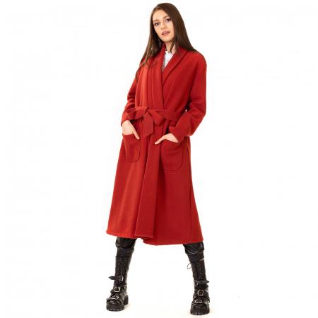 Palton lung cu cordon in talie0