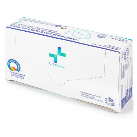 SET 25 buc Masca medicala TIP IIR - pentru  COPII /culoare ALBASTRU [2]
