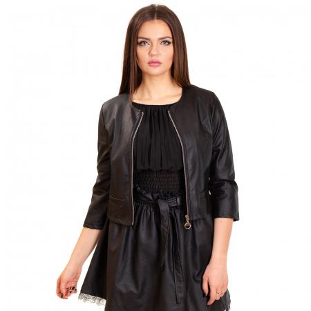 Jacheta scurta cu buzunare , din piele ecologica0