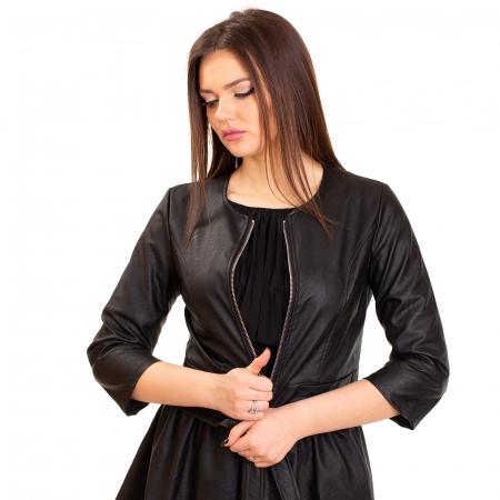 Jacheta scurta cu buzunare , din piele ecologica3