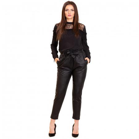 Pantalon cu cordon ,  conic din piele ecologica0