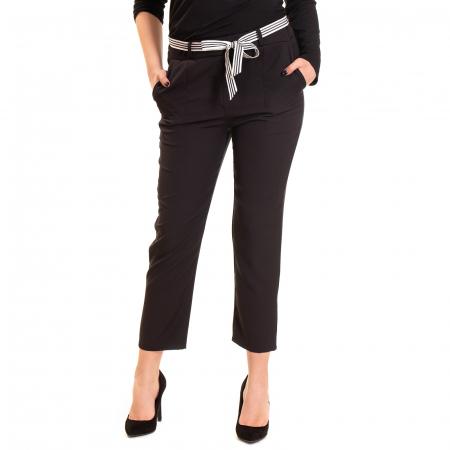 Pantalon cu funda alb negru in talie0