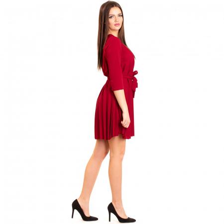 Rochie plisata cu cordon maneca pana la cot [1]