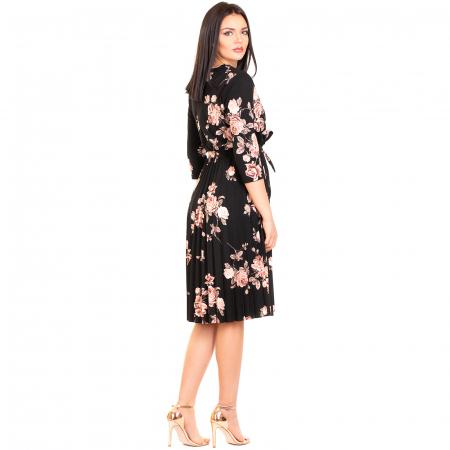Rochie plisata cu imprimeu floral1