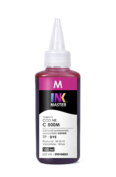 Cerneala profesionala Inkmaster compatibila Canon - DYE, Magenta, C800M 0
