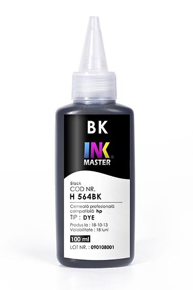 Cerneala profesionala Inkmaster compatibila HP - DYE, BLACK, H564BK 0