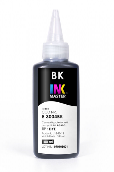 Cerneala profesionala Inkmaster E3004BK, negru, compatibila Epson L100, L110, L120, L130, L200, L210, L220, L300, L310, L355,L365, L382 L386, L486, L455, L565, L3050, L3060, L3070, WF-7610, WF-3620 [0]